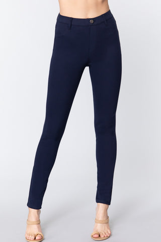Navy Knit Twill Jeggings