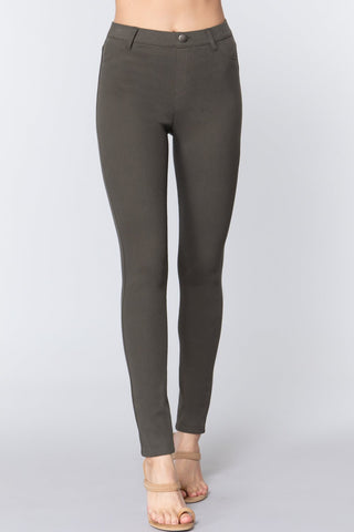 Olive Knit Twill Jeggings