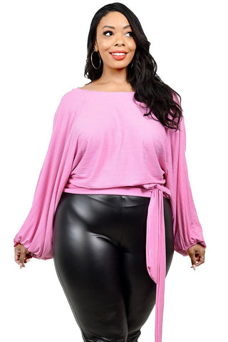 Pink PlusmLong Sleeve Tie Waist Top