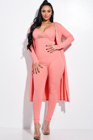 Solid Rib Knit Spaghetti Strap Jumpsuit And Duster Two Piece Set