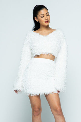 White All Feather Fabric Mini Skirt Set