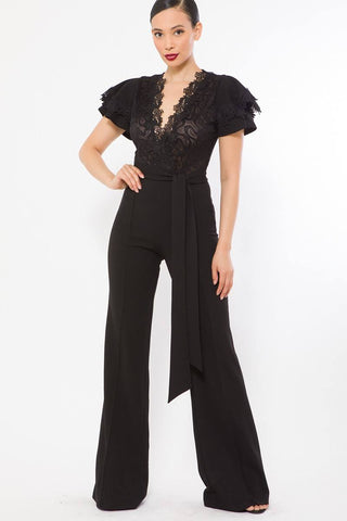 Black Deep V Crochet Lace Jumpsuit