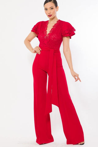 Red Deep V Crochet Lace Jumpsuit