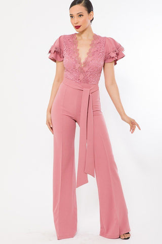 Mauve Deep V Crochet Lace Jumpsuit