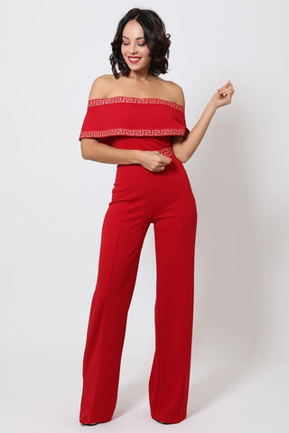 Red Greek Border Pattern Off Shoulder Jumpsuit