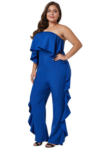 Cobalt Blue Plus Size Strapless Ruffle Jumpsuit