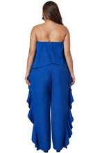 Load image into Gallery viewer, Cobalt Blue Plus Size Strapless Ruffle Jumpsuit