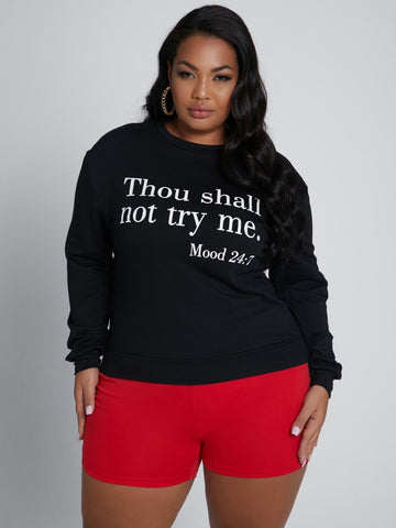 Thou Shall Not Try Me Plus Size Hoodie