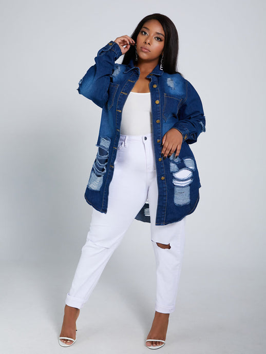 Turndown Collar Broken Holes Deep Blue Plus Size Denim Jacket