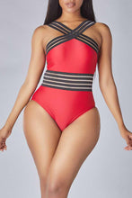 Load image into Gallery viewer, Lovely Striped Red One-piece Swimsuit