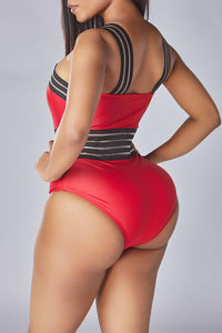 Lovely Striped Red One-piece Swimsuit