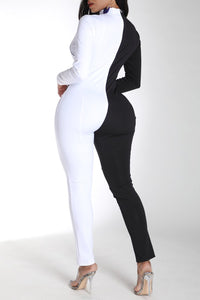 Black And White One-piece Jumpsuit