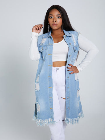 Trendy Broken Holes Blue Plus Size Denim Jacket