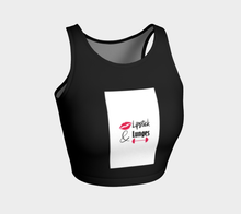Load image into Gallery viewer, Lipstick & Lunges Crop Top (Black)
