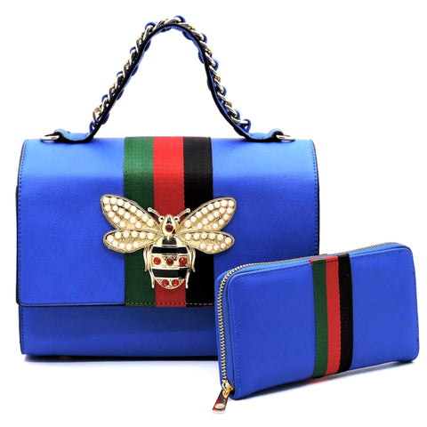 Gucci Inspired Blue Stripe Satchel Set