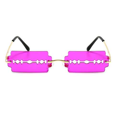Purple Razor Blade Rimless Sunglasses
