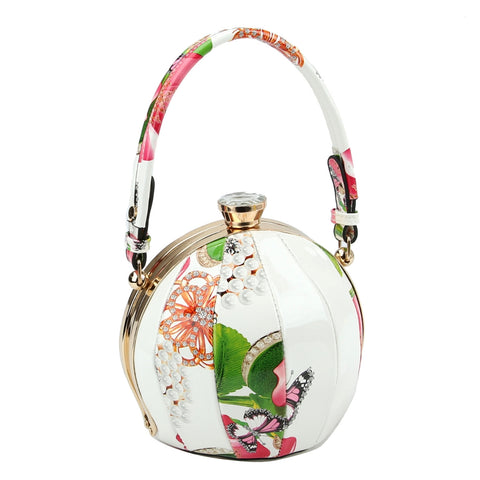 Cream Floral Ball Shaped Handbag