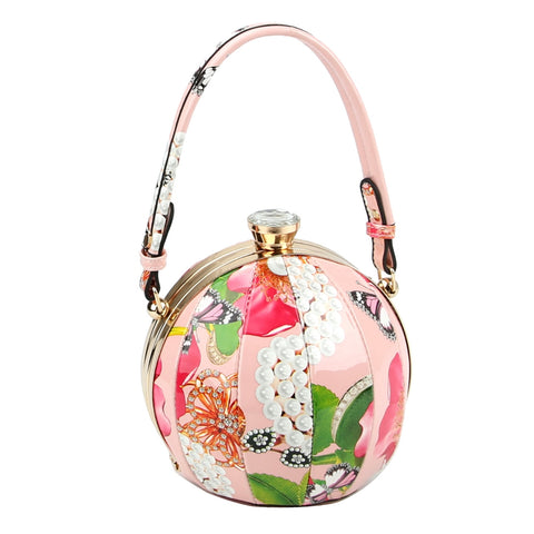 Pink Floral Ball Shaped Handbag