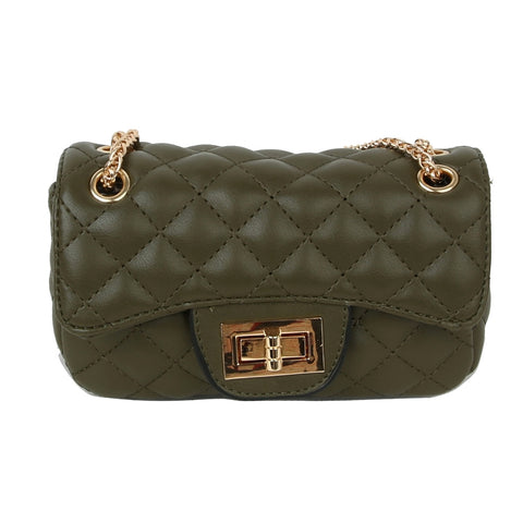 Olive Leather Quilted Mini Crossbody