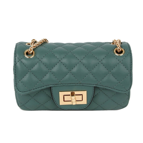 Teal Leather Quilted Mini Crossbody