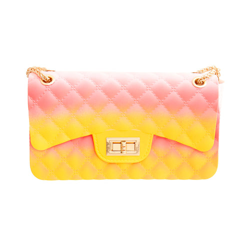 Coral and Yellow Quilted Jelly Bag