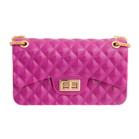 Shiny Purple Quilted Jelly Bag