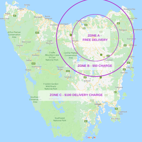 Flower Walls Tasmania - Delivery Map