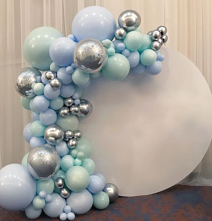 Party Balloon Garland Kit - Mint, Blue + Silver