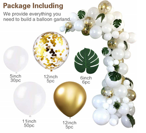 Party Balloon Garland Kit - White + Gold
