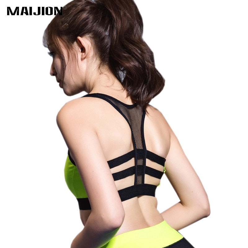 361f17e0b3459 2018 New Sexy Mesh Quick Dry Patchwork Shockproof Push Up Sports Bra ...