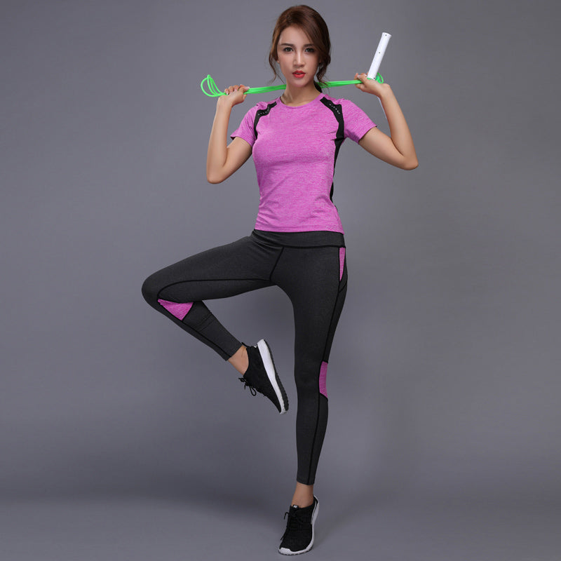 6c019aa361 BINTUOSHI Women Yoga Set Gym Fitness Clothes Tennis Shirt+Pants Running  Tight Jogging Workout Yoga Leggings Sport Suit plus size
