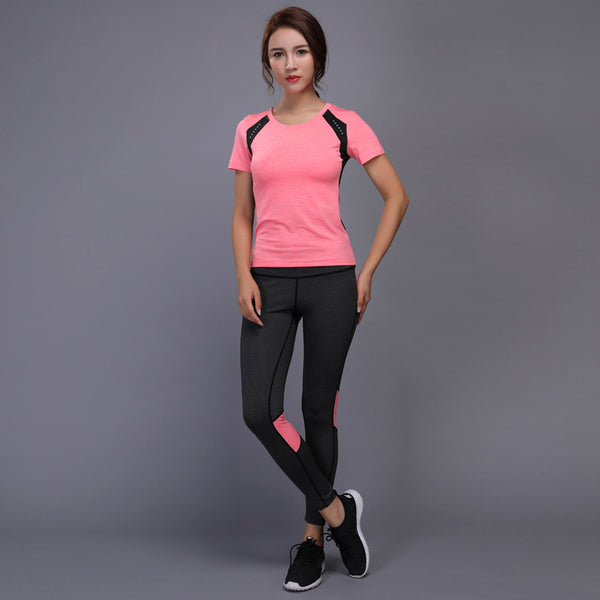 9f036c9cd73 ... BINTUOSHI Women Yoga Set Gym Fitness Clothes Tennis Shirt+Pants Running  Tight Jogging Workout Yoga ...