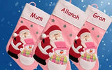 Personalised Santa & Snowman Pink Christmas Stocking