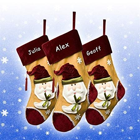 Personalised Gold Santa Christmas Stocking