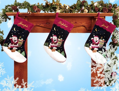 Personalised Velvet Santa Christmas stocking