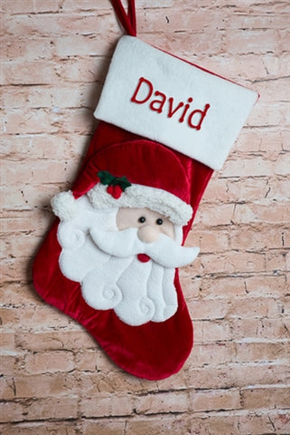 Personalised Christmas Stocking - Velvet Santa