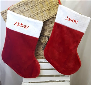 Huge Red & White Fur Personalised Christmas Stocking