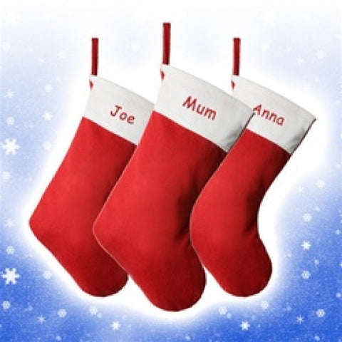 Tradtional Red & White Felt Personalised Christmas Stocking