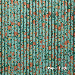 Paper Straws - Floral Green