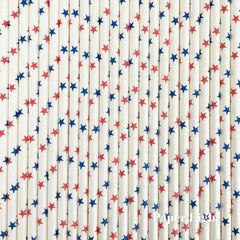 Paper Straws - Stars Red & Blue