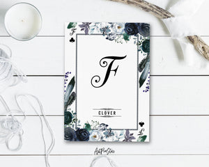 Watercolor Floral Flower Bouquet Initial Letter F Clover Monogram Note Cards