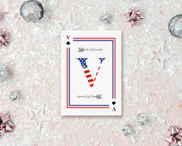 American Flag Letter V Spade Monogram Note Cards