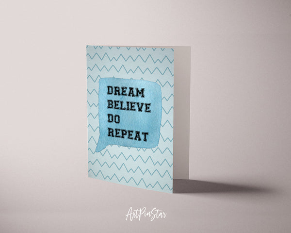 Dream Believe Do Repeat Inspirational Quote Customized Greeting Cards