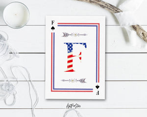 American Flag Letter F Spade Monogram Note Cards