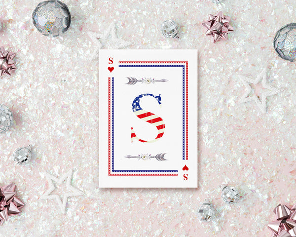 American Flag Letter S Heart Monogram Note Cards
