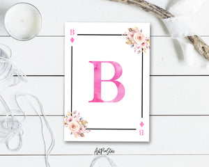 Boho Floral Bouquet Initial Flower Letter B Diamond Monogram Note Cards
