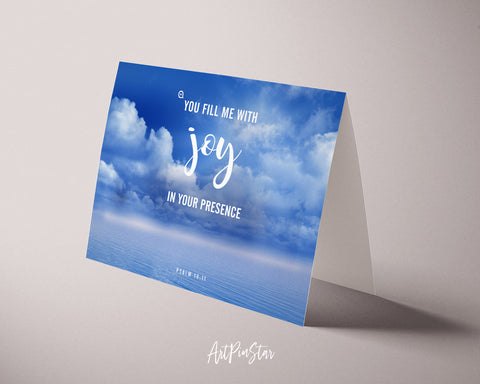 You fill me with joy in your presence Psalm 16:11 Bible Verse Customized Greeting Card