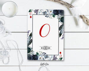 Watercolor Floral Flower Bouquet Initial Letter O Diamond Monogram Note Cards