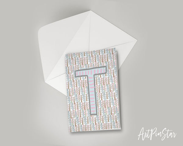 Alphabet Forest Letter T Animal Monogram Note Cards