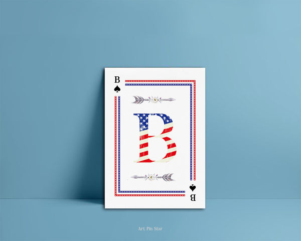 American Flag Letter B Spade Monogram Note Cards